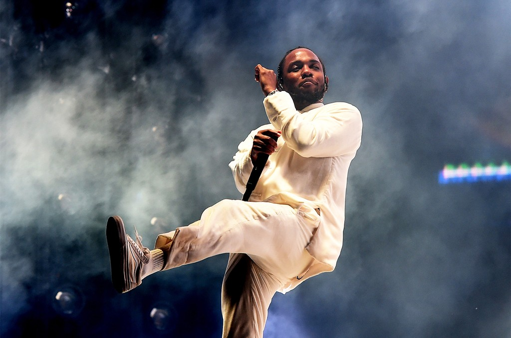 Kendrick Lamar performs on the Coachella Stage during day 3 of the Coachella Valley Music And Arts Festival (Weekend 1) at the Empire Polo Club on April 16, 2017 in Indio, Calif.