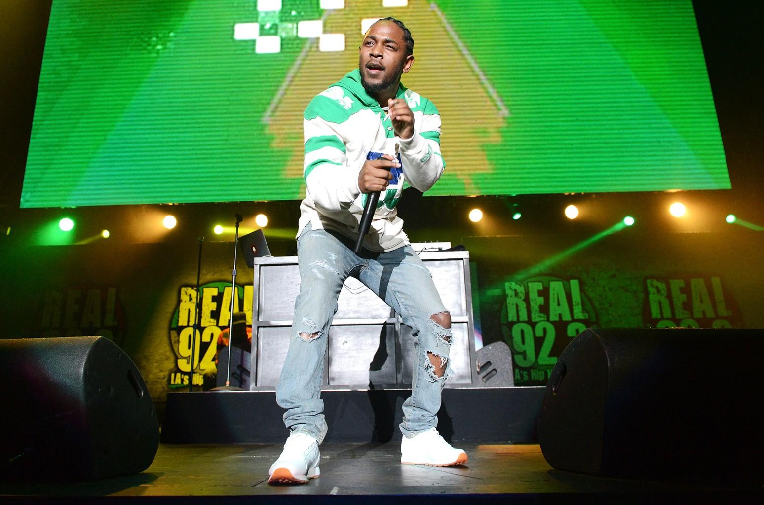 Kendrick Lamar performs at The Forum