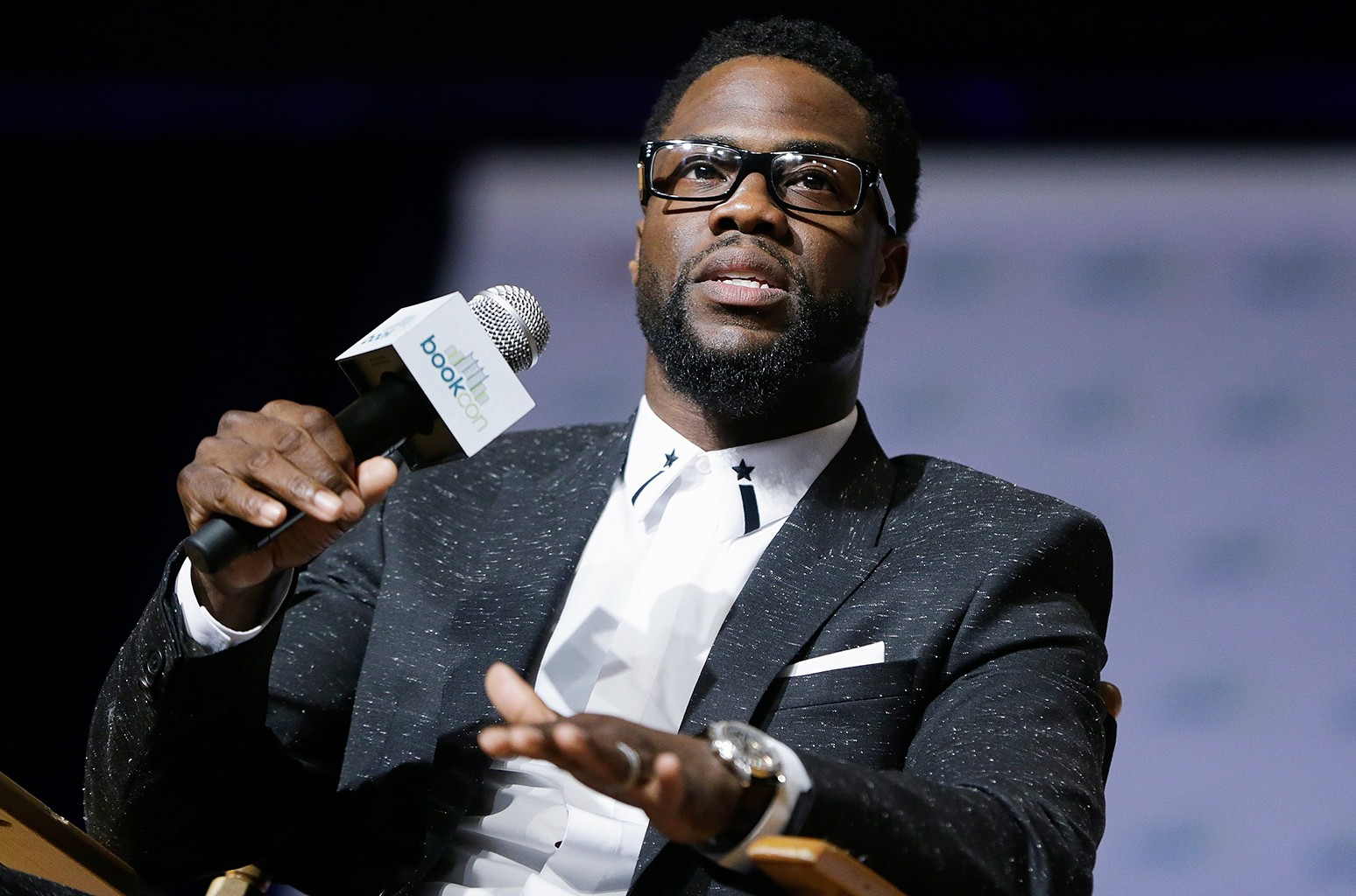 Kevin Hart speaks at the Javits Center on June 4, 2017 in New York City.