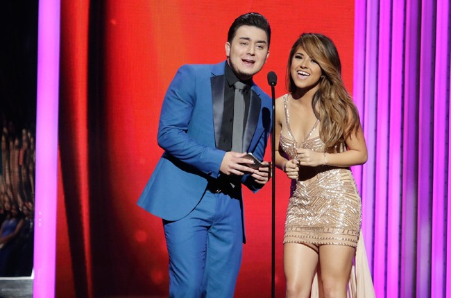 Kevin Ortiz and Becky G on stage during the 2015 Billboard Latin Music Awards