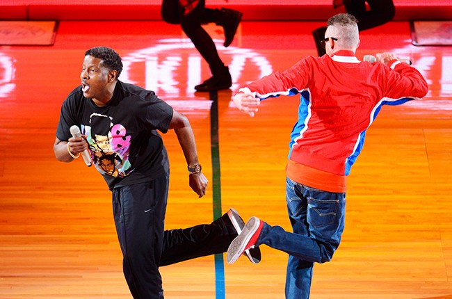 Kid 'n Play perform during halftime at LA Clippers game