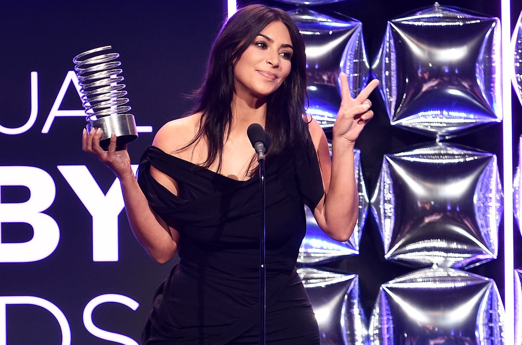 Kim Kardashian West on stage at the 20th Annual Webby Awards