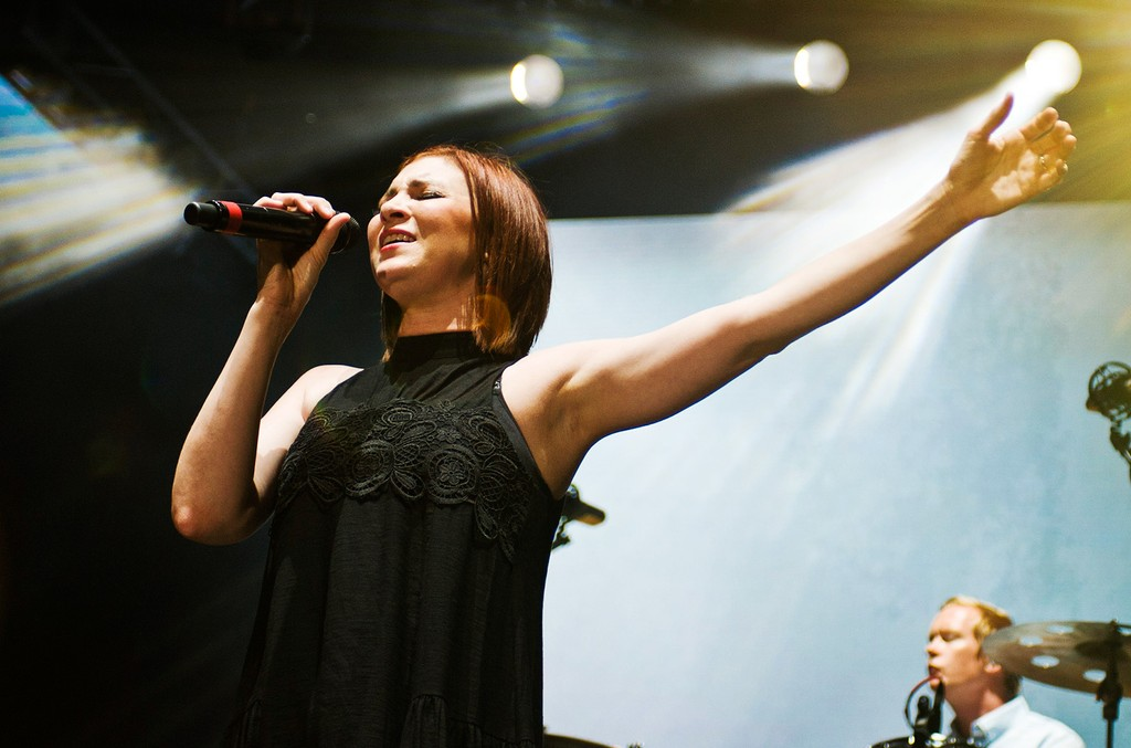 Kim Walker-Smith performs at the OUTCRY tour opener at FirstMerit Bank Pavilion at Northerly Island on July 24, 2015 in Chicago.