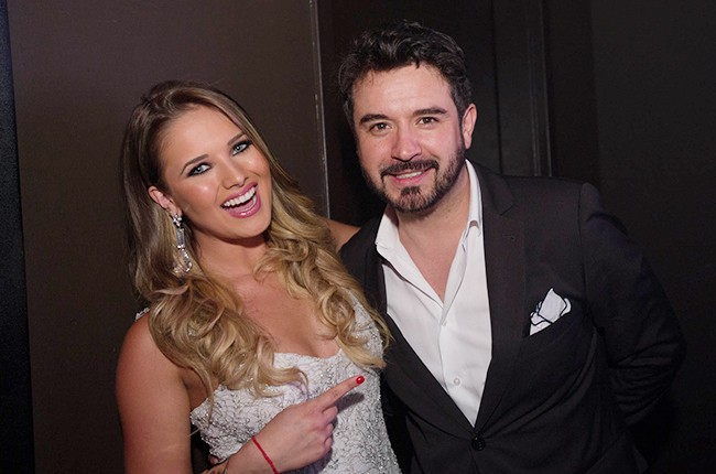 Jorge Bernal and Kimberly Dos Ramos backstage at the Billboard 2014 Latin Music Conference 25th Anniversary Concert