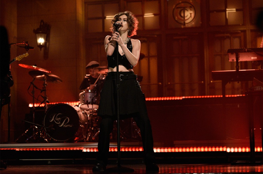 "King Princess performs ""Hit The Back"" on Saturday Night Live on Nov. 23, 2019."