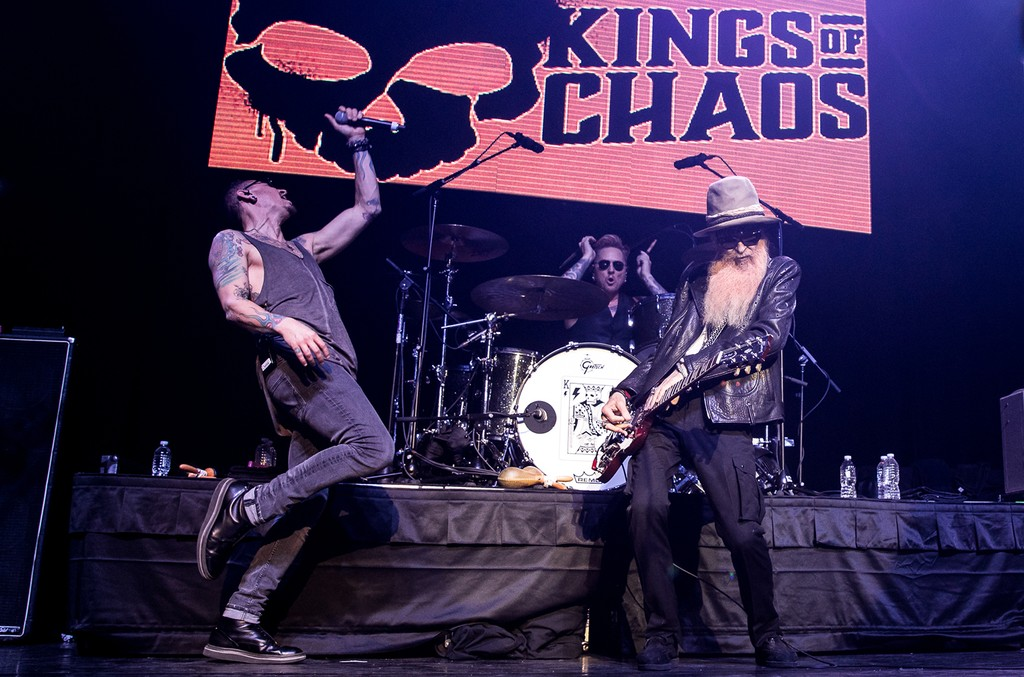 Chester Bennington, Matt Sorum and Billy Gibbons of Kings of Chaos.