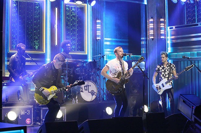 Kings of Leon perform on The Tonight Show, August 2014.