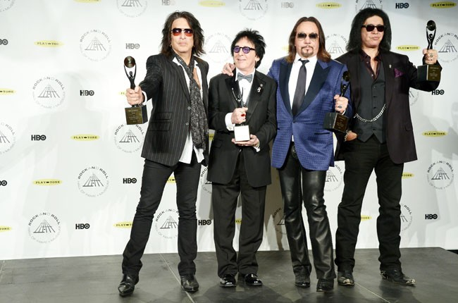 Kiss backstage at the 2014 Rock And Roll Hall Of Fame Induction Ceremony