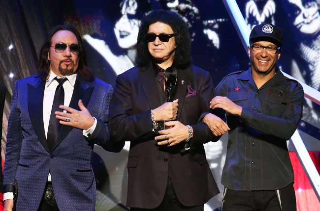 Kiss and Tom Morello onstage at the 2014 Rock And Roll Hall Of Fame Induction Ceremony