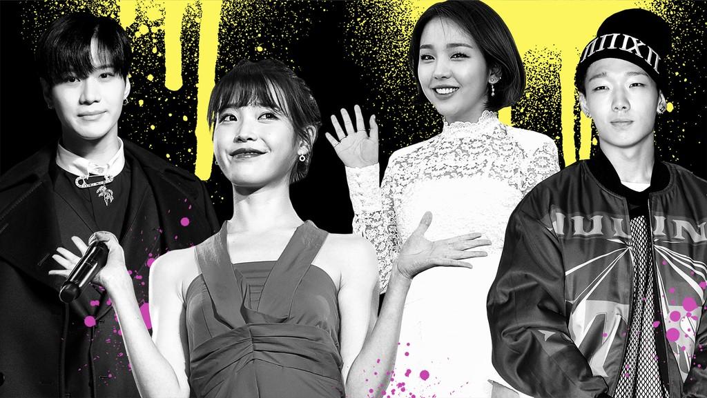 Left to right: Tae-min, IU, Baek A-Yeon & Bobby