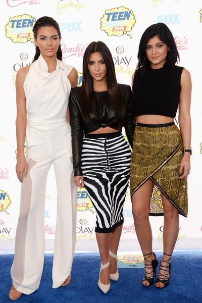 Kendall Jenner, Kim Kardashian and Kylie Jenner attend FOX's 2014 Teen Choice Awards