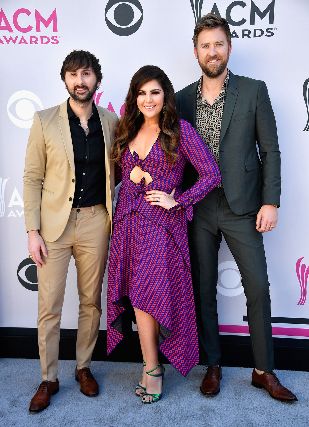 Dave Haywood, Hillary Scott, and Charles Kelley of Lady Antebellum attend the 52nd Academy Of Country Music Awards at Toshiba Plaza on April 2, 2017 in Las Vegas.