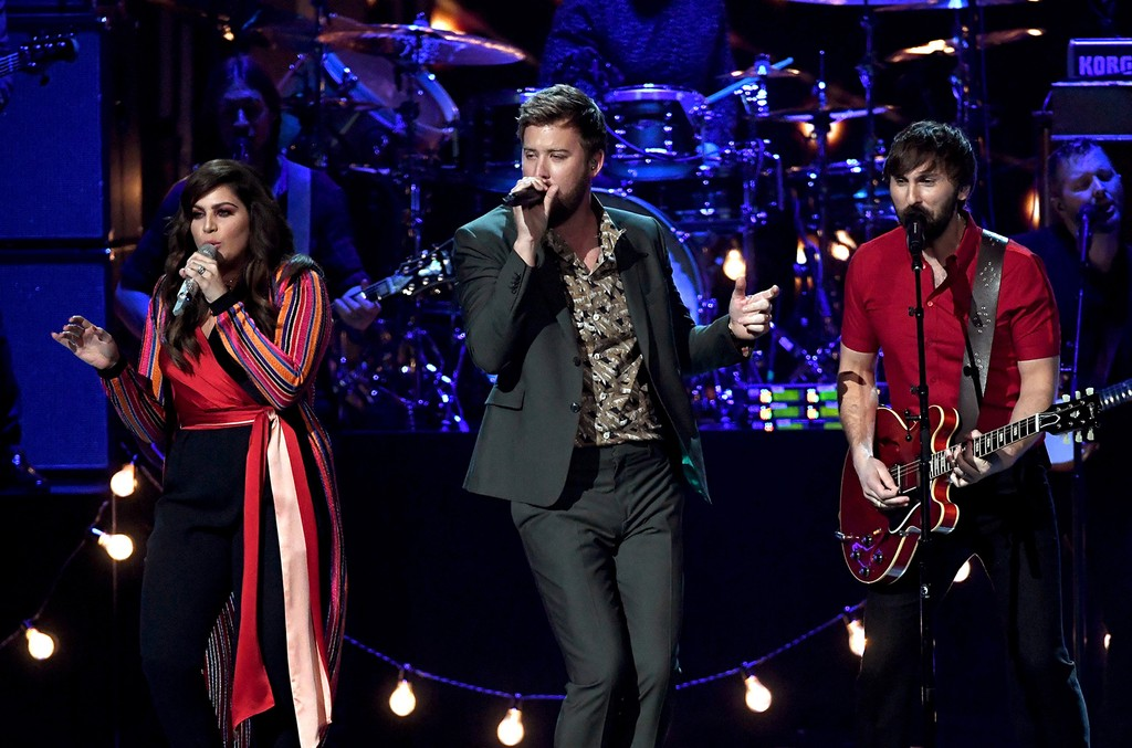 Hillary Scott, Charles Kelley, and Dave Haywood of Lady Antebellum perform onstage during the 52nd Academy Of Country Music Awards at T-Mobile Arena on April 2, 2017 in Las Vegas.