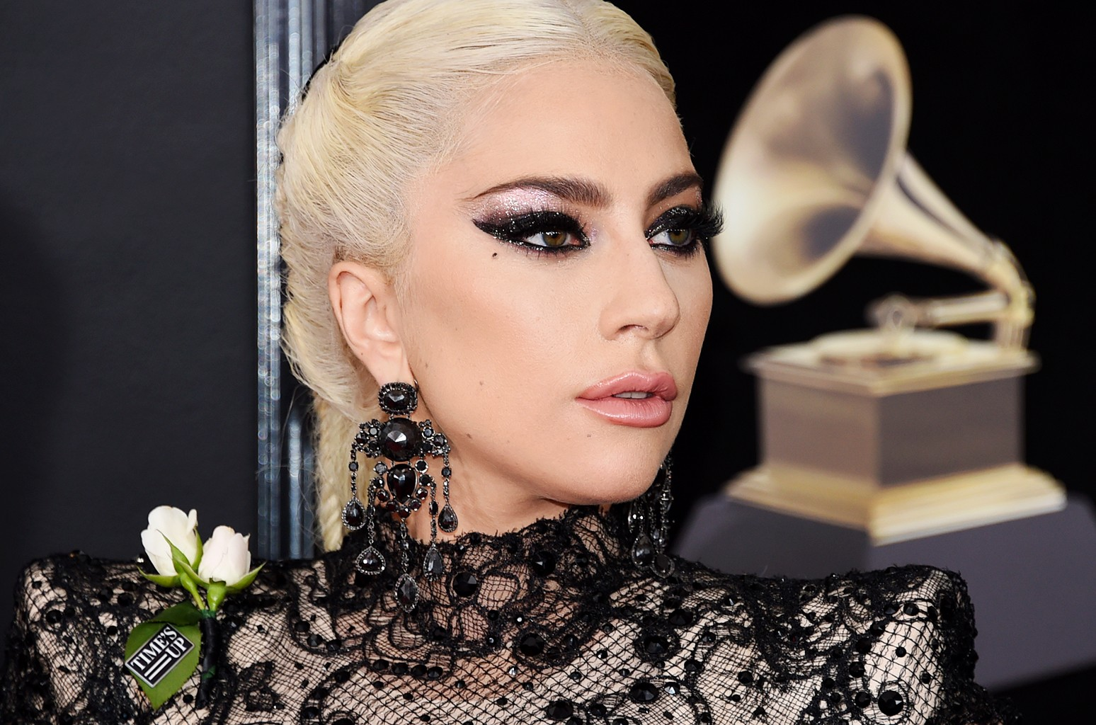lady gaga among stars wearing white roses on grammys red carpet in support of timesup billboard lady gaga among stars wearing white