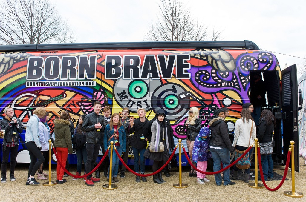 Fans come out to see Lady Gaga's Born Brave Bus Tour at Navy Pier on March 27, 2013 in Chicago.
