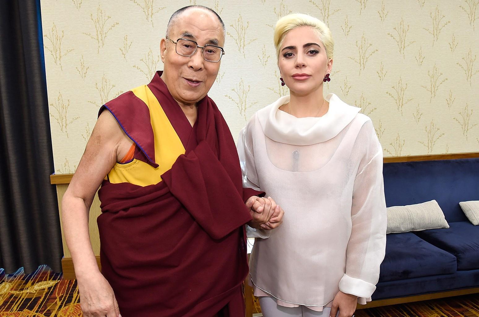 Lady Gaga joins his Holiness the Dalai Lama