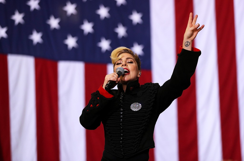 Lady Gaga performs during Clinton campaign rally