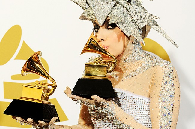 Lady Gaga with her Grammys in 2010