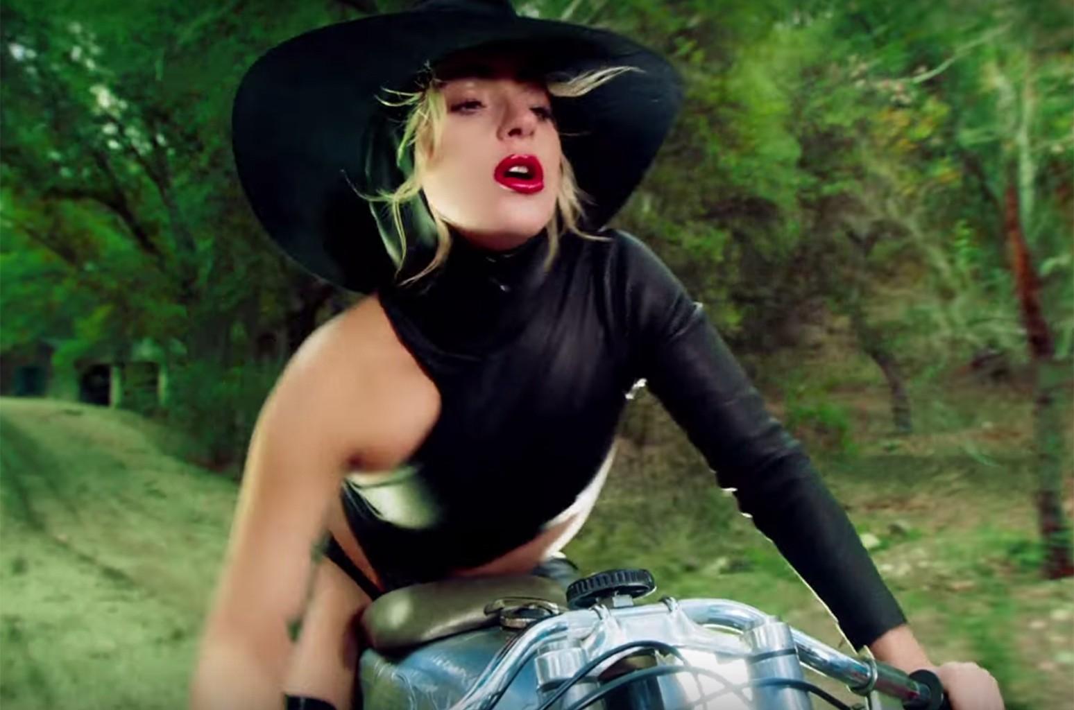 "Lady Gaga in the video for ""John Wayne."""