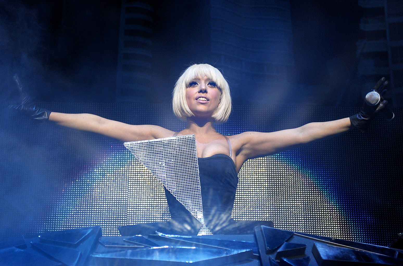 Lady Gaga performs in 2009