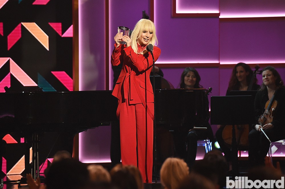 Lady Gaga performs onstage during the Billboard Women in Music Luncheon on December 11, 2015 in New York City.
