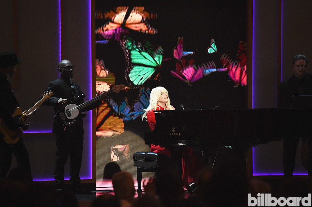 Lady Gaga performs onstage during the Billboard Women in Music Luncheon on Dec. 11, 2015 in New York City.