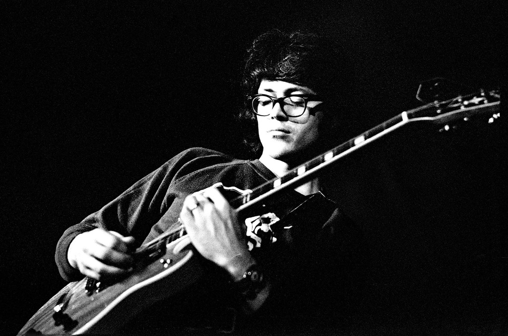 Larry Coryell performs live on stage in Amsterdam, Netherlands in 1973.