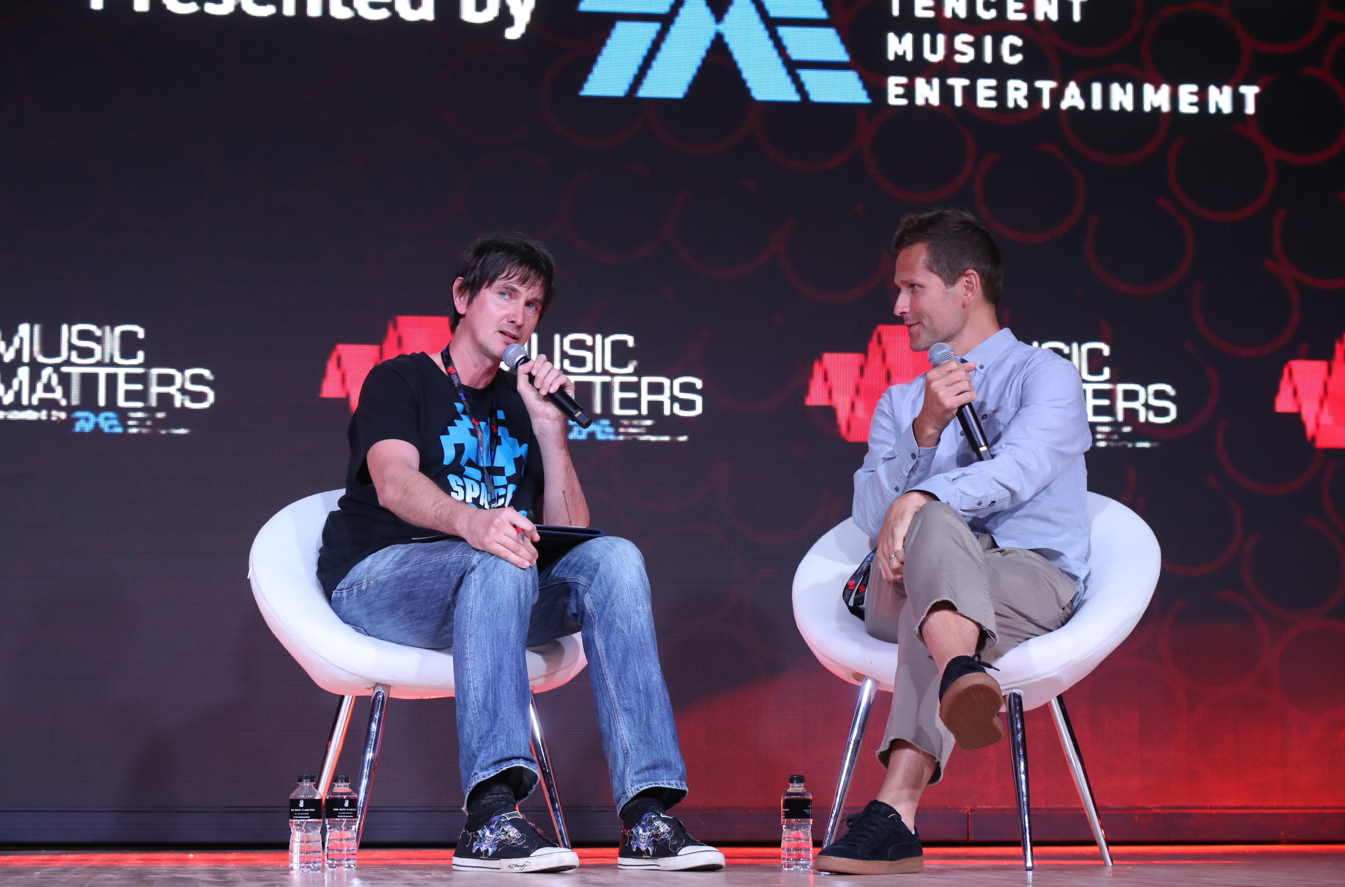 Billboard's Lars Brandle and veteran DJ Kaskade chat during a keynote session at Music Matters 2018