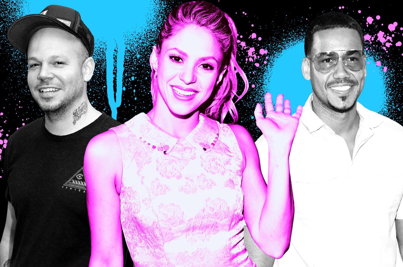 From left: Residente, Shakira & Romeo Santos