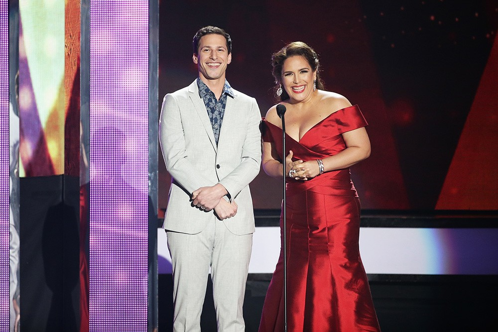 Andy Sandberg and Angelica Vale speak on stage during the 2016 Billboard Latin Music Awards