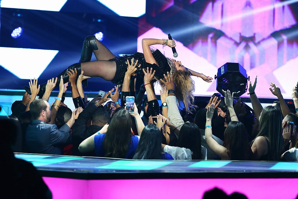 Paulina Rubio performs on stage during the 2016 Billboard Latin Music Awards
