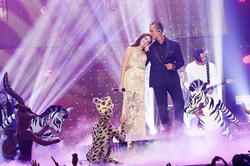 Camila Fernandez and Alejandro Fernandez perform on stage during the 2016 Billboard Latin Music Awards