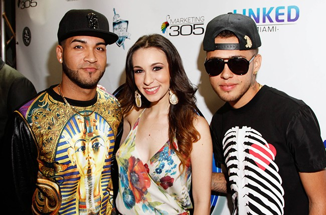 Jayma y Dalex with Anais Vives at the Billboard 2014 Latin Music Conference and Awards