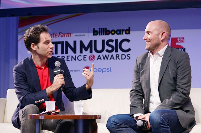 Joe Levy and Rio Careff on stage at the Billboard 2014 Latin Music Conference