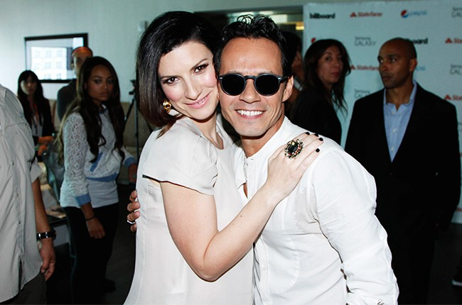 Laura Pausini and Marc Anthony at the Billboard 2014 Latin Music Conference