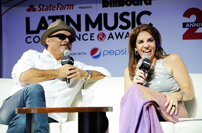 Omar Alfanno and Leila Cobo at the Billboard 2014 Latin Music Conference