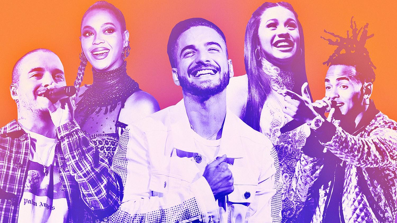 From left: J Balvin, Beyoncé, Maluma, Cardi B & Ozuna