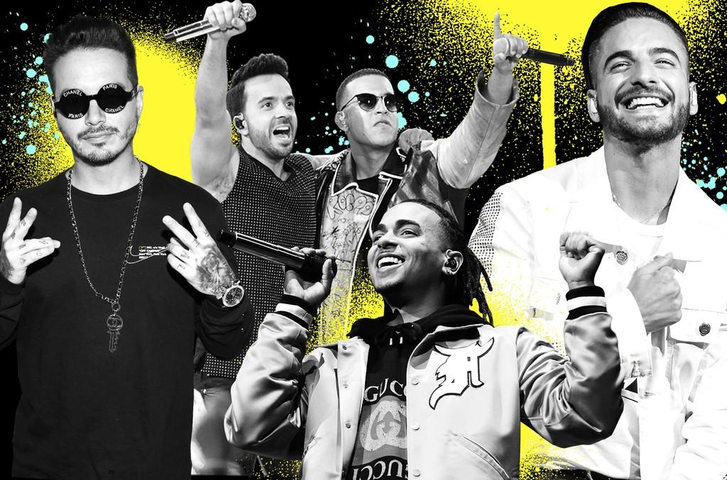 Clockwise from right: Maluma, Ozuna, J Balvin, Luis Fonsi and Daddy Yankee
