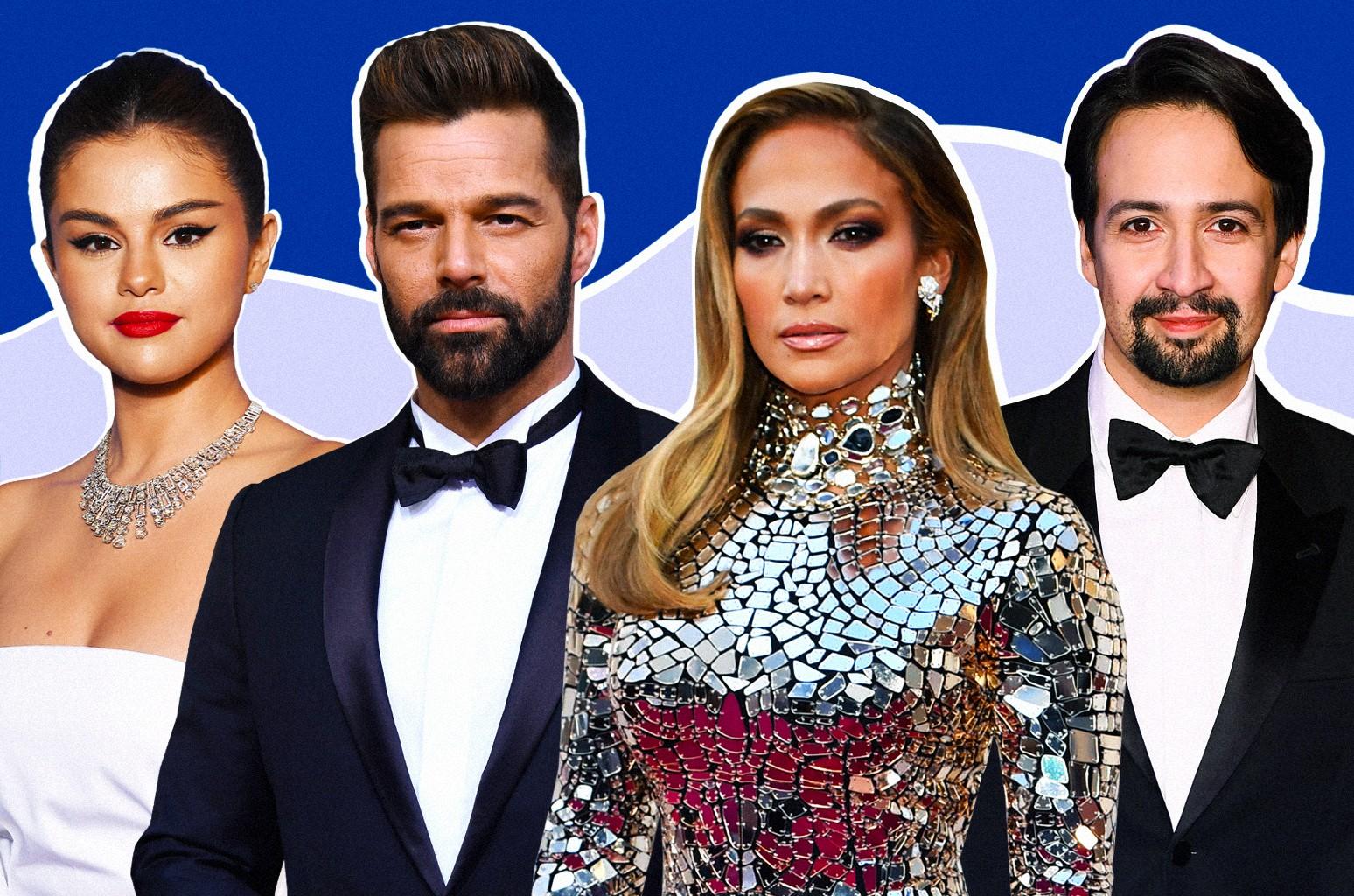 Selena Gomez, Ricky Martin, Jennifer Lopez and Lin-Manuel Miranda