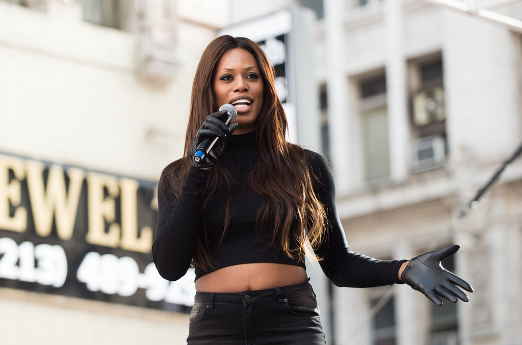 Laverne Cox speaks onstage at the women's march in Los Angeles on January 21, 2017 in Los Angeles, California.  (Photo by Emma McIntyre/Getty Images)