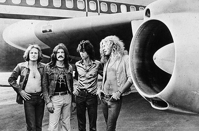 Led Zeppelin, (left - right): John Paul Jones, John Bonham (1948 - 1980), Jimmy Page and Robert Plant