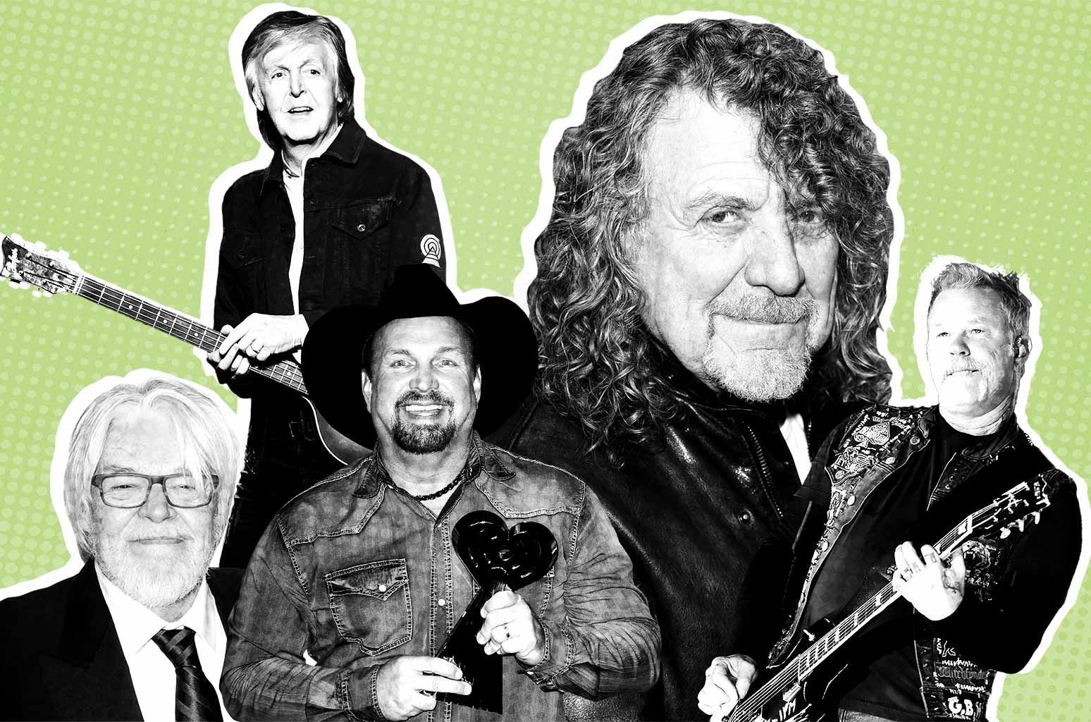 From left: Seger, Paul McCartney, Brooks, Plant and Metallica's James Hetfield.