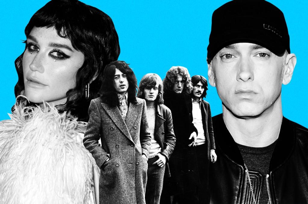 From left: Kesha, Led Zeppelin and Eminem