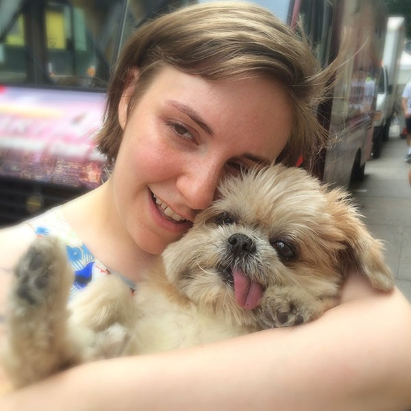 Marnie the Dog and Lena Dunham, 2014.