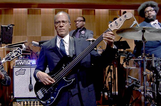 """Lester Holt plays with The Roots on """"The Tonight Show Starring Jimmy Fallon"""""""