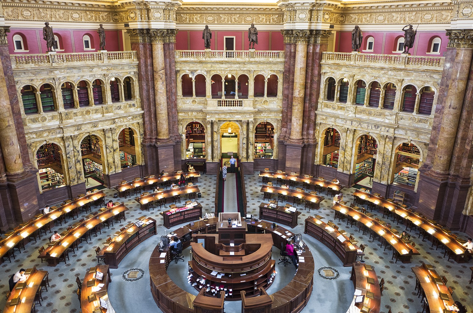 An interior view of the Main Reading Room from an overlook at the Library of Congress Thomas Jefferson Building in Washington, DC.