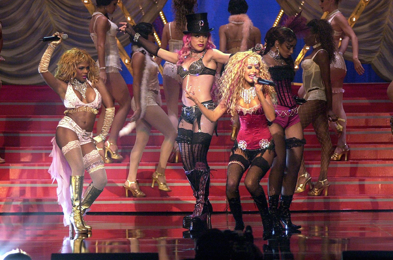 Pink, Lil' Kim, Mya, Christina Aguilera during 2001 MTV Movie Awards - Show at the Shrine Auditorium in Los Angeles, California.  (Photo by Kevin Mazur/WireImage)