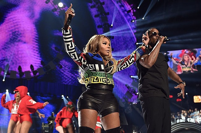 Lil' Kim and Puff Daddy at the iHeartRadio Music Festival
