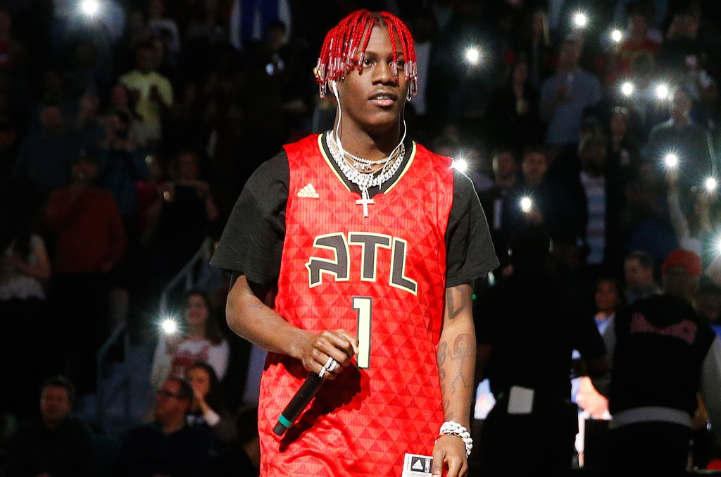 Lil Yachty performs during half time in an NBA basketball game between Atlanta Hawks and Washington Wizards on  Jan. 27, 2017 in Atlanta.