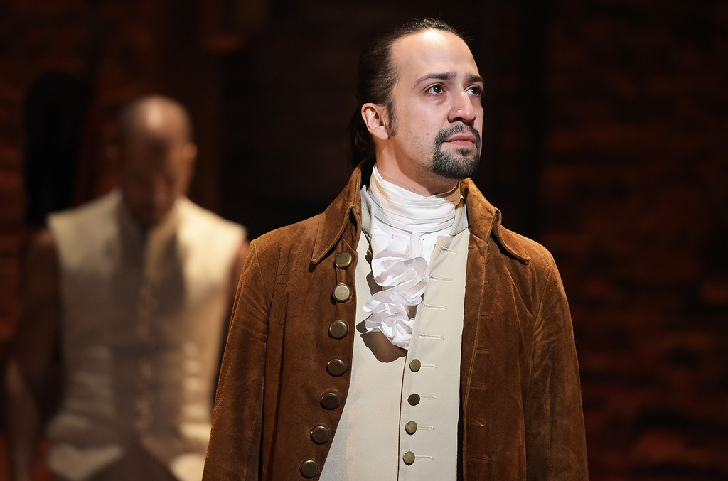 "Lin-Manuel Miranda is seen on stage during the ""Hamilton"" Grammy performance"